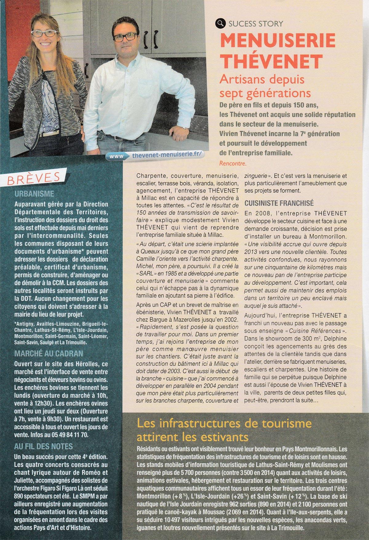 """Menuiserie Thévenet dans """"Montmorillonnais en Action N° 13"""""""